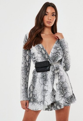 Missguided Snake Print Frill Detail Playsuit