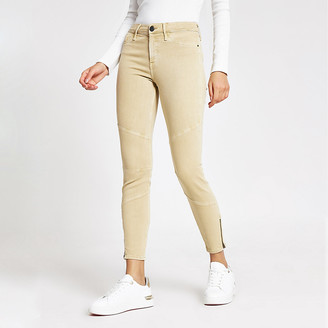River Island Beige Molly mid rise jeggings