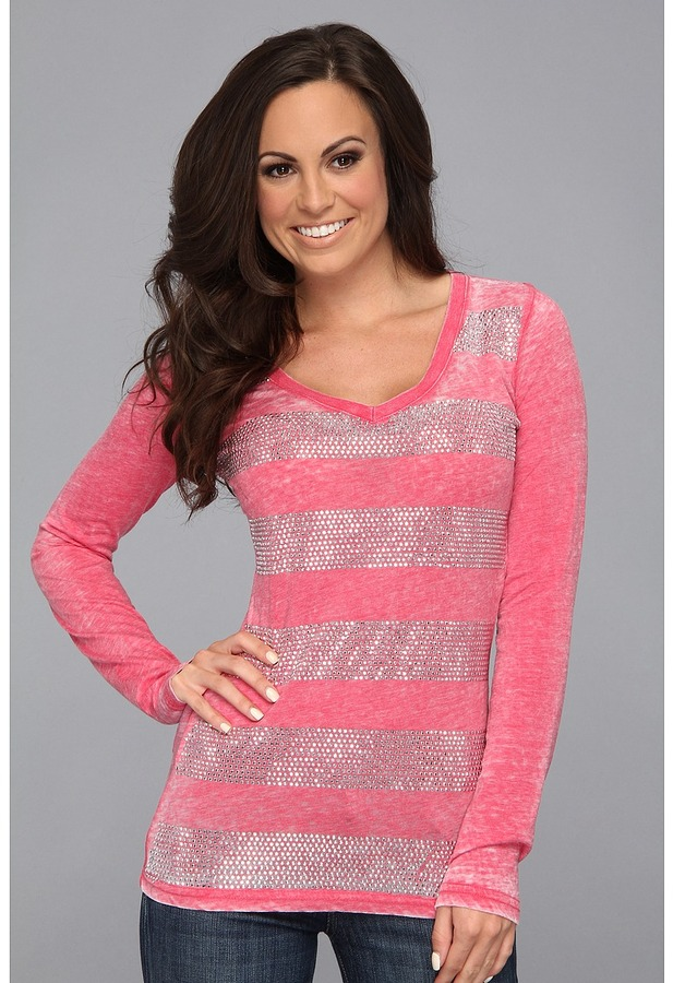 Rock and Roll Cowgirl - Sequin Stripe L/S Tee (Coral) - Apparel