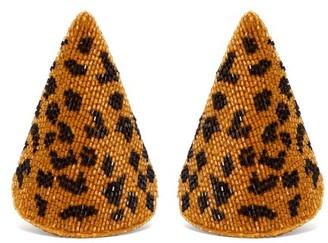 Rebecca De Ravenel Aida Triangle Beaded Earrings - Womens - Leopard