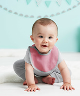 Skip Hop Light Pink & Gray Petite Triangle Reversible Bib