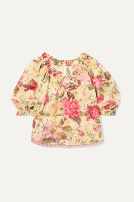 Zimmermann Kids Honour Gathered Floral-print Cotton-voile Top - Yellow