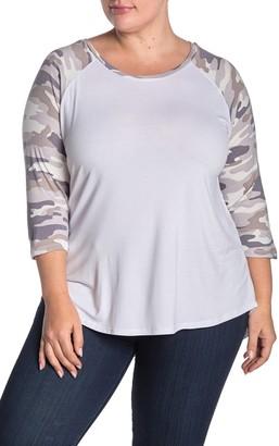 Sweet Romeo Snow Camo Print 3/4 Raglan Sleeve Baseball T-Shirt (Plus Size)