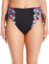 Betsey Johnson Womens Swimwear Women's Ballerina Rose High Waist Bikini Bottom
