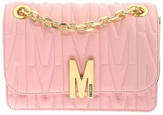 Moschino Logo Plaque Quilted Shoulder Bag