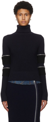 Sacai Navy Wool Zip Sleeve Turtleneck