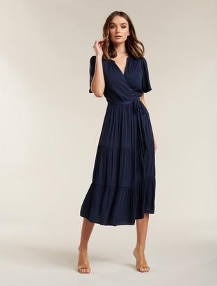 Forever New Anna Flutter Sleeve Midi Dress - Galaxy Blue - 10
