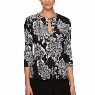 Alex Evenings Women's Printed Twinset with Hook Neck Closure