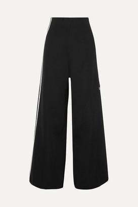 adidas Striped Stretch-knit Wide-leg Track Pants - Black