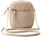 Charlotte Russe Quilted Chevron Crossbody Bag