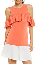 Soprano Cold-Shoulder Ruffled Jersey Top