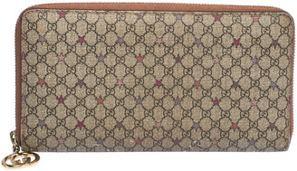 Gucci Beige GG Supreme Star Canvas Zip Around Wallet