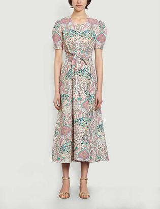 Sandro Irya floral-print linen and cotton-blend midi dress