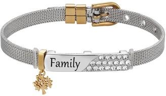 "Brilliance+ Brilliance ""Family"" Crystal Bar Two Tone Bracelet with Swarovski Crystals"