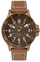 Timex R) Allied Leather Strap Watch, 43mm