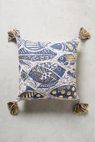 Anthropologie Foil-Printed Aquatic Pillow