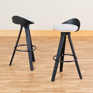 "Wrought Studio Heanor Low-Back CafA 30"" Bar Stool Frame Color: Black, Upholstery: Graphite"