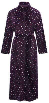 M&Co Spot fleece zip front dressing gown