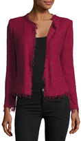 IRO Shavani Open-Front Boucle Jacket, Wine