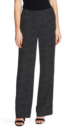 CeCe Pin Dot Wide Leg Tropic Crepe Pants