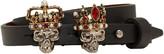 Alexander McQueen Black King & Queen Double-Wrap Bracelet