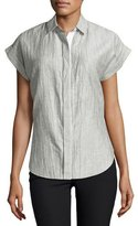 Rag & Bone Ara Short-Sleeve Crinkle Tie-Back Blouse, Black/White