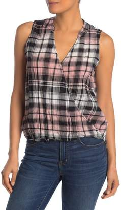 Splendid Surplice Neck Grey Fox Plaid Print Tank Top