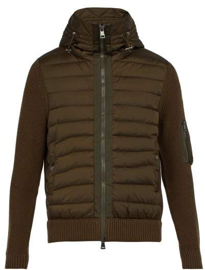 2a214a22f Hooded Wool Blend Knit And Quilted Down Jacket - Mens - Khaki