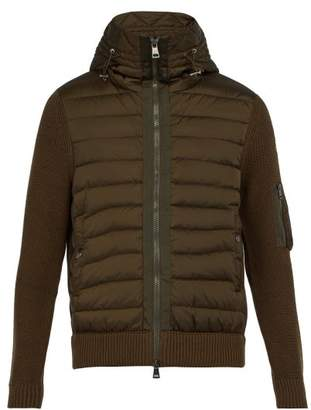Moncler Hooded Wool Blend Knit And Quilted Down Jacket - Mens - Khaki