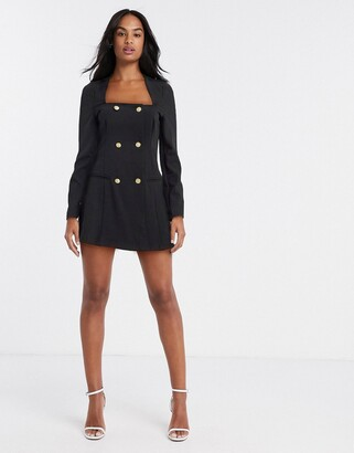 ASOS DESIGN glam double breasted jersey blazer with square neck