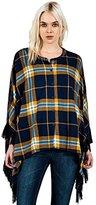 Volcom Junior's Alpaca Plaid Flannel Poncho Sweater