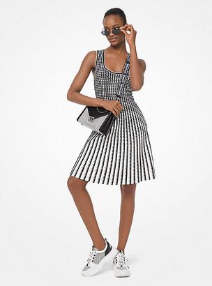 Michael Kors Geometric Grid Stretch-Viscose Pleated Dress