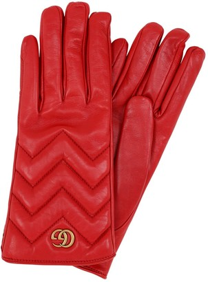 Gucci Gg Marmont Embossed Leather Gloves