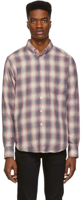 Naked & Famous Denim Denim Grey and Pink Plaid Double Cloth Easy Shirt