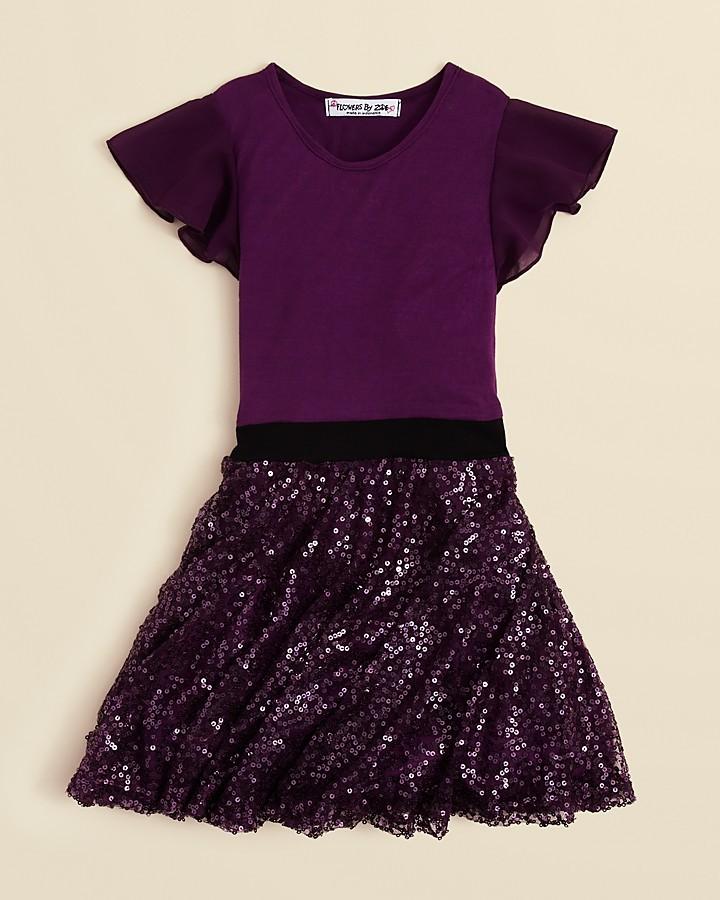 Flowers by Zoe Girls' Cap Sleeve Sequin Skirt Dress - Sizes 4-6X