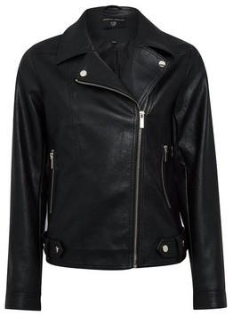 Dorothy Perkins Womens Black Pu Biker Jacket, Black