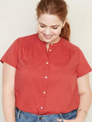 Old Navy Button-Front No-Peek Plus-Size Blouse