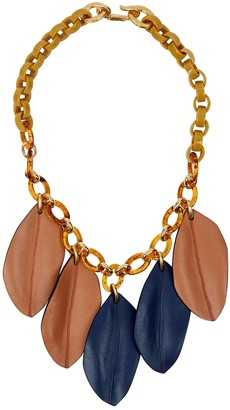 Marni Gold-tone and brown resin chain necklace