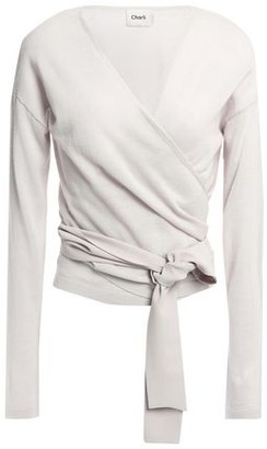 Charli Crepe De Chine-trimmed Wool-blend Wrap Top