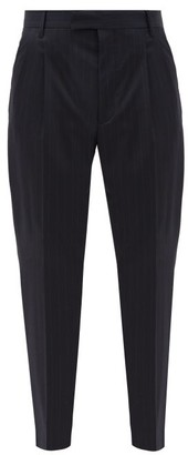 Paul Smith Pinstriped Wool-blend Slim-leg Trousers - Navy