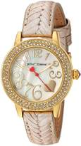 Betsey Johnson Women's Quartz Metal and Leather Casual Watch, Color:-Toned (Model: BJ00251-16)