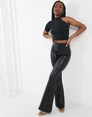 UNIQUE21 knitted rib neck one shoulder top in black