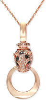 Effy Signature by Diamond (3/8 ct. t.w.) and Emerald Accent Panther Pendant Necklace in 14k Rose Gold