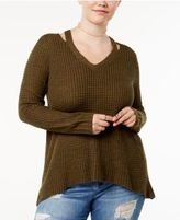 Planet Gold Trendy Plus Size Ribbed Cutout Sweater