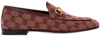 Gucci New Jordaan Classic Loafers In Gg Canvas With Metal Horsebit