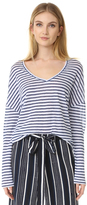 Cupcakes And Cashmere Martin Linen Stripe V-Neck