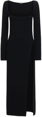 Ann Demeulemeester Wool Square Neck Long Dress W/Split