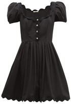 Miu Miu Scallop-trim Cotton-poplin Mini Dress - Womens - Black