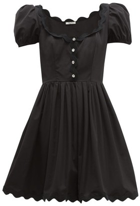 Miu Miu Scallop-trim Cotton-poplin Mini Dress - Black