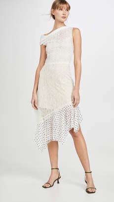 ANAÏS JOURDEN Duo Lace Off Shoulder Midi Dress in White Rainbow